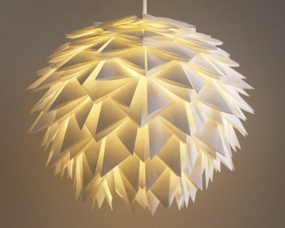 The Brooks Pendant Light - White Spiky Origami Paper Hanging Lamp SHADE ONLY