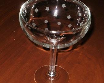 2 Margarita Glasses...12 oz... Etched Confetti Design