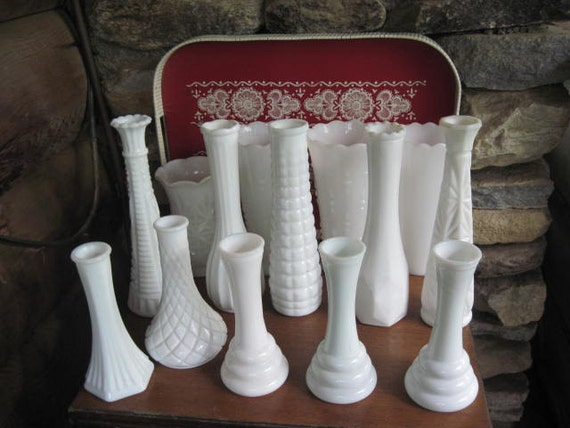 RESERVED For Allison Fourteen Pieces of Wedding Milk Glass Vases plus 1