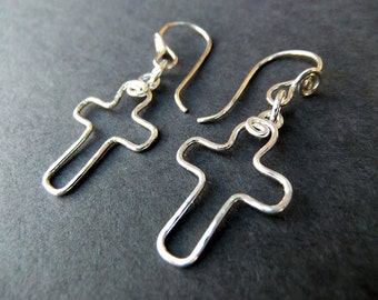 Tiny Cross Charm Earrings Religious Christian Catholic Handcrafted Sterling Silver Unique Fun Cute French Ear Wires