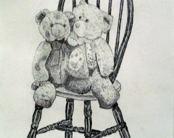Two Teddies in a Windsor Chair, modern art, in a 8 x 6 frame, graphite drawing, art for sale