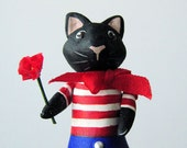 Black Cat Brooch Pin with French American Style, handmade