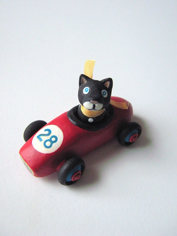 Red Mini Car with Black Cat -Miniature Toy Car - Customizable