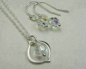 Bridesmaid Jewelry Set  - Swarovski Crystal Bridesmaid Necklace Earring Set - Bridal Jewelry Wedding Jewelry Set