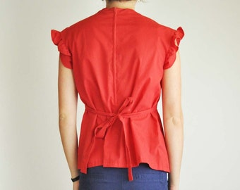Red Fluttery Blouse