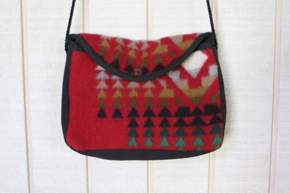 SOUTHWEST navajo PENDLETON style red & black small purse bag