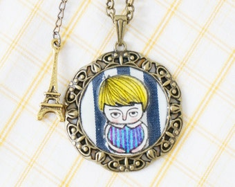 Necklace - Hand illustrated - Mixed media - Mr.Louis