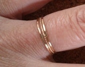 Teeny Tiny Delicate Thin Stacking Rings In 14K GF or SS Diamond Faceted and Twisted Combo SRAJD