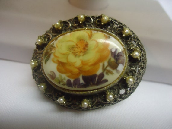 SALE TODAY Vintage Porcelain Hand Painted Brooch Pendant Jewelry