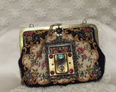 Steampunk Tapestry purse, vintage floral, Victorian steampunk, vintage brass frame and hardware, cameo and rhinestones, OOAK LAYAWAY PLANS