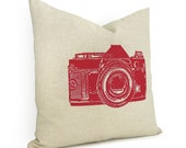 16x16 Vintage Camera Pillow Case | Beige & Red Cushion Cover, Decorative Accent Throw Pillow | Camera Photo Print | Mid Century Decor