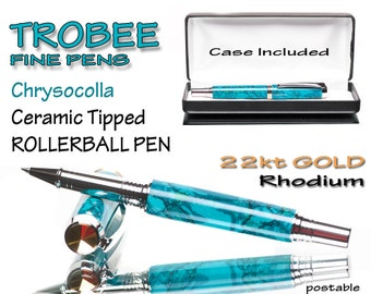 Blue green Chrysocolla pen rollerball some say it has healing energy
