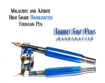 Fountain pen / Tru-stone  Malachite azurite  professionally made by   hand top seller One of a kind writing pen gift