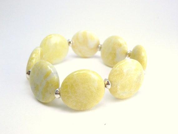 Lemon Yellow Stretch Bracelet, Silver, Jasper, Round