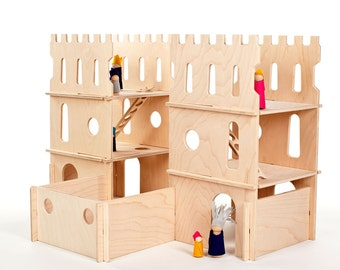 Wood Castle // Spark Creativity With Modular Wood Castle Building Pieces // Waldorf Inspired DIY Interactive Modern Wooden Toy
