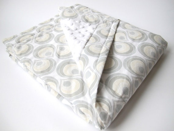 Baby Blanket - White, Grey and Cream - Dear Stella Palladium Collection - White Minky Dot - 30 x 36