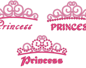 Princess Tiara - 3 types - and palin TIARAS also 3 types machine embroidery designs, download 4, 5, 6 and 7 inches