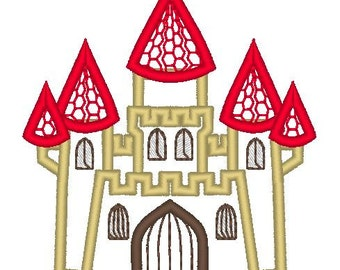 Castle machine embroidery applique design, girls dream - multiple sizes for hoop 4x4, 5x7 and 6x10