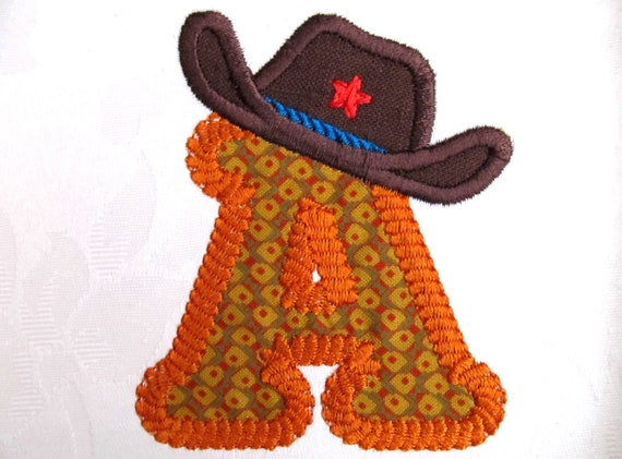 Rodeo, cowboy,  rope line Font and Hat separately machine applique designs - Letters A - Z and numbers 0 - 9, in sizes 2, 4 and 6 inches