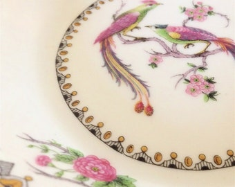 Antique French Limoges Bird of Paradise Saucers- Set of 4