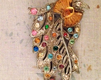1940's Rhinestone and Pot Metal Brooch