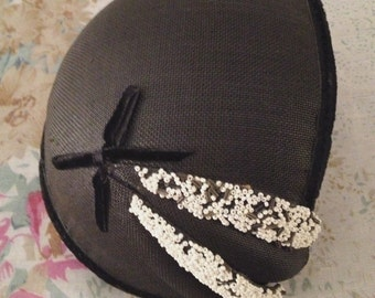 1930's Skull Cap Hat with Bow