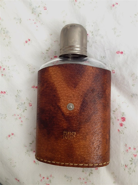 US Zone Vintage Glass and Leather Flask
