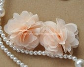 Ivory Chiffon Flowers 2.36 Inches Wide For Costume Headware Corsage Supplies 2pcs