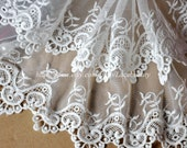 2 Row Tulle Lace Trim Retro Embroideried Lace 9.8 Inches Wide 1 yard