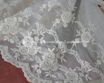 Fabulous Off White Lace Trim Rose Embroidery Tulle Lace 9 Inches Wide 1 yard