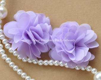 Purple Chiffon Flowers 2.36 Inches Wide For Costume Headware Corsage Supplies 2pcs