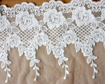 Cotton Tulle Lace Trims Roe Embroideried Lace 5.7 Inches Wide 2 yards