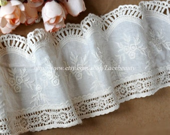 Off White Cotton Fabric Lace Trim Floral Embroideried Hollowed Lace 4.1 Inches Wide 1 Yard