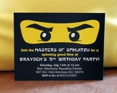 Ninja Birthday Party Invitations - Red or Black