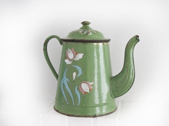 French Antique Enamelware Coffee Pot,Vintage French Enamelware Coffee pot, shabby chic decor, beautiful almond green,light green Flowers