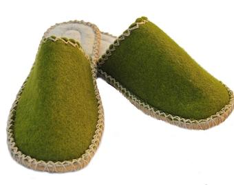 olive green felt slippers