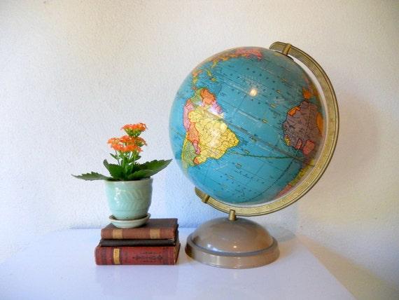 Vintage World Globe, 1950s Globe, Crams Universal Terrestrial Globe, Mid Century Globe with Metal Base