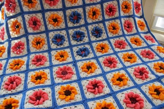 Crochet Afghan, Lap Quilt, Afghan, Colorful Afghan, Flower Afghan, Bright, Blanket
