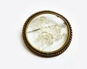 Vintage Flower Brooch Pin, Brass & Lucite, Clear Brooch