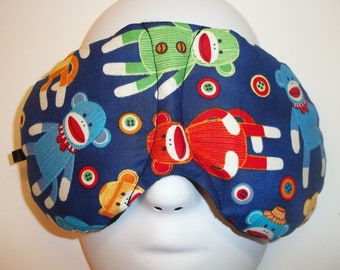 Herbal Hot/Cold Therapy Sleep Mask with adjustable and removable strap Sock Monkeys