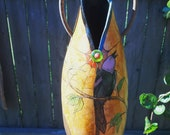 Black Bird Singing Decorative Gourd - FREE SHIPPING