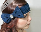 Blue bow headband suede 33% discounted