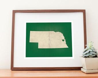 Omaha, Nebraska Love Map Art Print
