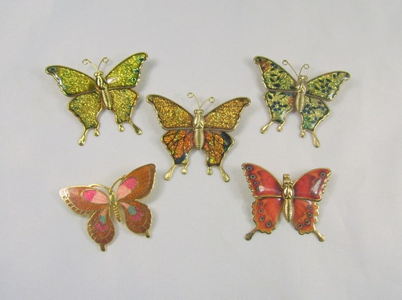 Lot of 5 Vintage Butterfly Butterflies Pins Great for Upcycling Recycle Lightweight