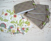 Cute Recycled Cards, Set of 8,  Floral, Earthy Brown