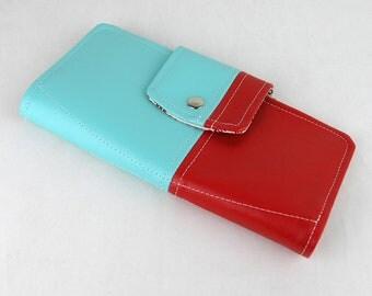 Vinyl Passport Wallet, Red Passport Wallet,Turquoise Passport Case
