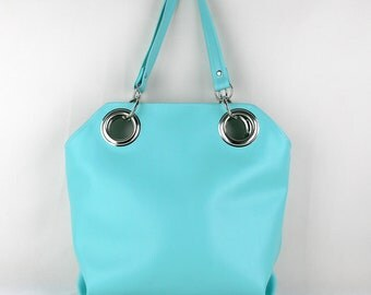 Vegan Purse in Turquoise, Turquoise Shoulder Bag. Minimalist Purse, Vegan Handbag. Oversized Grommets. Faux Leather Shoulder Bag
