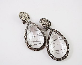 Vintage Crystal Earrings, Silver, Clipback, large, wire wrapped  No.37