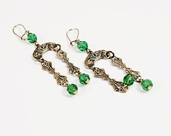 Vintage Drop Earrings, Pierced, Peridot Color Crystals, Drop Style, Goldtone filigree  No. 74 Free shipping