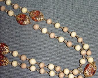 SALE- Retro Preppy Necklace- Faux Amber- White Beads- 48 inches  1m 22cm 1970